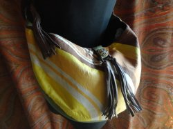 画像2: 【B-99】LeatherMixChainCrescentMoonBag*YellowOrange*